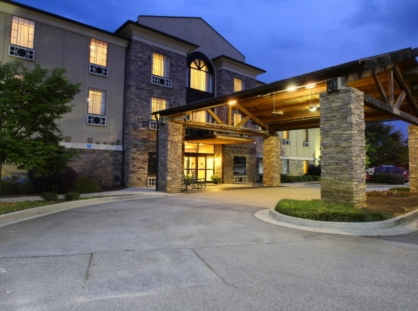 The Lodge hotel at night